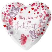 Luftballon aus Folie, Alles Liebe zur Hochzeit, Schmetterlinge, ohne Helium