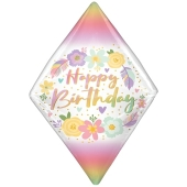 Happy Birthday Boho Gem Anglez Luftballon aus Folie, inklusive Helium