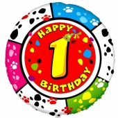 Luftballon aus Folie zum 1. Geburtstag, Animaloon Happy Birthday 1, ohne Ballongas