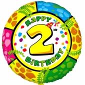 Luftballon aus Folie zum 2. Geburtstag, Animaloon Happy Birthday 2, ohne Ballongas