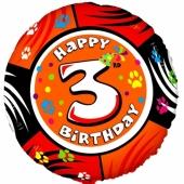 Luftballon aus Folie zum 3. Geburtstag, Animaloon Happy Birthday 3, ohne Ballongas