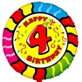 Luftballon aus Folie zum 4. Geburtstag, Animaloon Happy Birthday 4, ohne Ballongas
