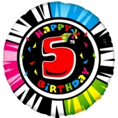 Luftballon aus Folie zum 5. Geburtstag, Animaloon Happy Birthday 5, ohne Ballongas