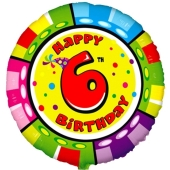 Luftballon aus Folie zum 6. Geburtstag, Animaloon Happy Birthday 6, ohne Ballongas