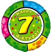 Luftballon aus Folie zum 7. Geburtstag, Animaloon Happy Birthday 7, ohne Ballongas
