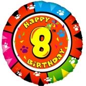 Luftballon aus Folie zum 8. Geburtstag, Animaloon Happy Birthday 8, ohne Ballongas