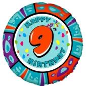 Luftballon aus Folie zum 9. Geburtstag, Animaloon Happy Birthday 9, ohne Ballongas
