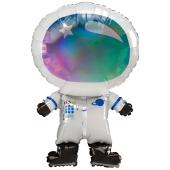 Irisierender Astronaut Luftballon aus Folie ohne Ballongas