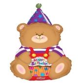 Happy Birthday Bär Luftballon zum Geburtstag mit Helium Ballongas