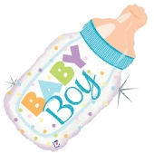 Baby Boy Babyflasche, holografischer Luftballon aus Folie inklusive Helium