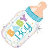 Holografischer Luftballon aus Folie Baby Boy Babyflasche ohne Helium