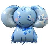 Folienballon Baby-Elefant ,Baby Boy ohne Helium