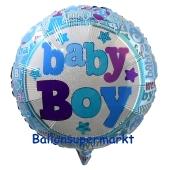 Baby Boy holo Luftballon aus Folie mit Helium