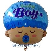 Folienballon zu Geburt und Taufe, Baby Boy Head, ungefüllt
