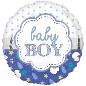 Baby Boy Muschel Luftballon aus Folie ohne Helium