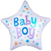Baby Boy Star Luftballon aus Folie ohne Helium