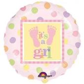 Luftballon mit Helium zu Geburt und Taufe eines Mädchens: It´ a Girl, Babyfüßchen