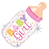 Holografischer Luftballon aus Folie Baby Girl Babyflasche ohne Helium