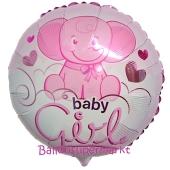 Baby Girl Elefantenbaby Luftballon aus Folie ohne Helium