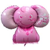 Folienballon Baby Girl Baby-Elefant ohne Helium-Ballongas
