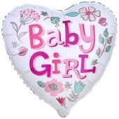 Baby Girl Heart Luftballon aus Folie ohne Helium