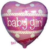 Baby Girl, holografischer Herzluftballon aus Folie mit Helium