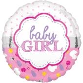 Baby Girl Muschel, Luftballon aus Folie mit Helium