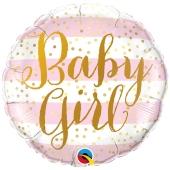 Baby Girl Pink Stripes Luftballon aus Folie mit Helium