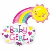 Luftballon aus Folie Baby Girl, glückliche Sonne, ohne Helium