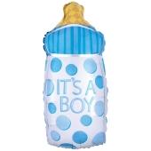 Luftballon zur Geburt und Taufe, Babyflasche It's a Boy, ungefüllt