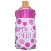 Luftballon zur Geburt und Taufe, Babyflasche It's a Girl, ungefüllt