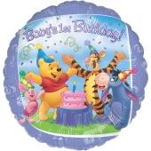 Luftballon aus Folie zum 1. Geburtstag, Winnie Pooh Baby´s 1st Birthday ohne Helium