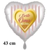 Beste Oma aller Zeiten Herzluftballon aus Folie, 43 cm, satinweiß, mit Ballongas-Helium