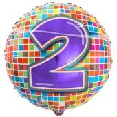 Luftballon aus Folie zum 2. Geburtstag, Birthday Blocks 2, ohne Ballongas