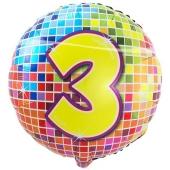Luftballon aus Folie zum 3. Geburtstag, Birthday Blocks 3, ohne Ballongas