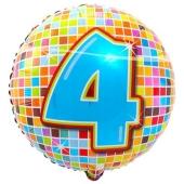 Luftballon aus Folie zum 4. Geburtstag, Birthday Blocks 4, ohne Ballongas