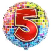 Luftballon aus Folie zum 5. Geburtstag, Birthday Blocks 5, ohne Ballongas