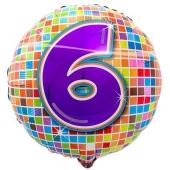 Luftballon aus Folie zum 6. Geburtstag, Birthday Blocks 6, ohne Ballongas
