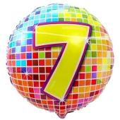 Luftballon aus Folie zum 7. Geburtstag, Birthday Blocks 7, ohne Ballongas