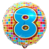 Luftballon aus Folie zum 8. Geburtstag, Birthday Blocks 8, ohne Ballongas