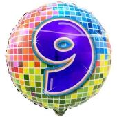 Luftballon aus Folie zum 9. Geburtstag, Birthday Blocks 9, ohne Ballongas