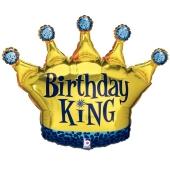 Birthday King Luftballon zum Geburtstag, ohne Helium