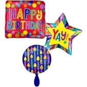 Cluster Luftballon aus Folie, Happy Birthday (ohne Helium)