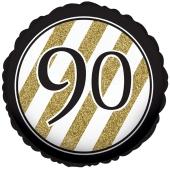 Luftballon zum 90. Geburtstag, Black and Gold 90, ohne Helium-Ballongas