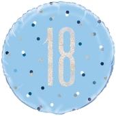 Luftballon aus Folie mit Helium, Blue & Silver Glitz Birthday 18, zum 18. Geburtstag