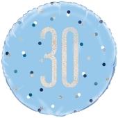 Luftballon aus Folie mit Helium, Blue & Silver Glitz Birthday 30, zum 30. Geburtstag