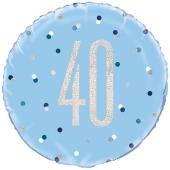 Luftballon zum 40. Geburtstag, Blue & Silver Glitz Birthday 40, ohne Helium-Ballongas