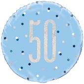 Luftballon zum 50. Geburtstag, Blue & Silver Glitz Birthday 50, ohne Helium-Ballongas