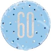 Luftballon zum 60. Geburtstag, Blue & Silver Glitz Birthday 60, ohne Helium-Ballongas