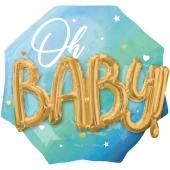 Folienballon, Jumbo Blue Baby Boy mit 3D-Effekt zur Geburt und Taufe